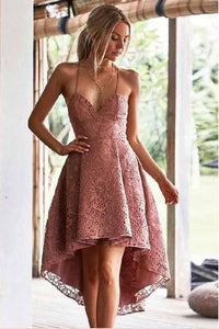 A-line High Low Homecoming Dresses with Lace