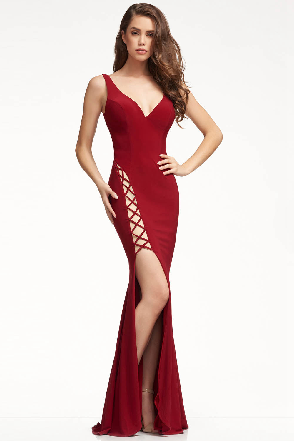 Sexy Sheath/Column Cut Out Jersey Lace-up Split Prom Dresses