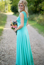 A-line Sleeveless Lace Top with Beading V-back Long Chiffon Bridesmaid Dresses
