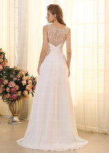 Junoesque A-Line V-neck Sleeveless Beadings Pleated Chiffon  Wedding Dresses