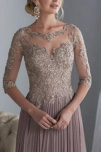 Long Applique Mother of the Bride Dress with sleeves