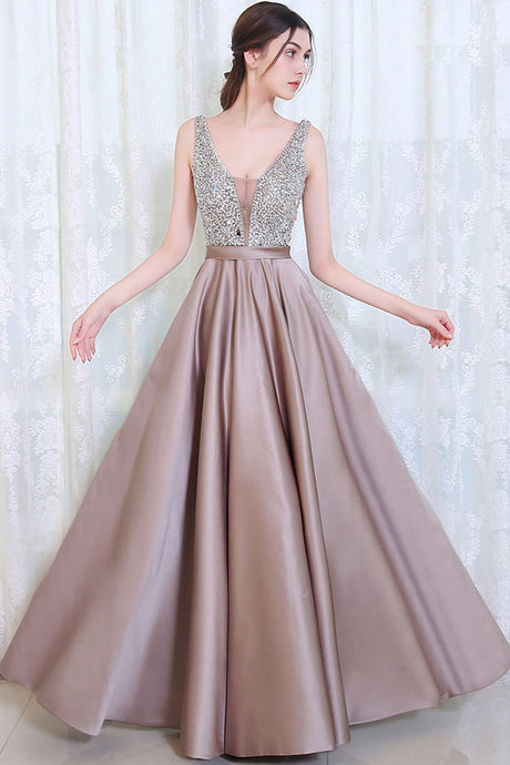 Beading Open Back Prom Evening Formal Dresses