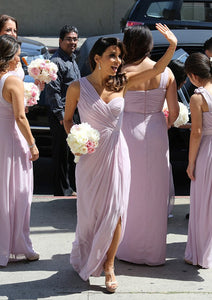 Mature Sleeveless One-shoulder Side Split Pleated Long Bridesmaid Dresses