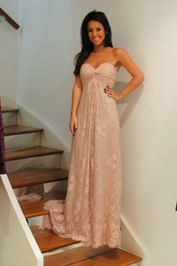 Strapless A-line/Princess Empire Long Lace Prom Dresses