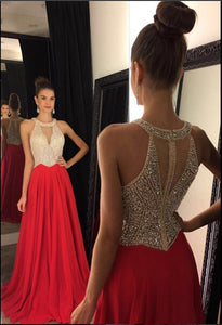 Decent A-line/Princess Sleeveless Beading Bodice Chiffon Long Prom Dresses