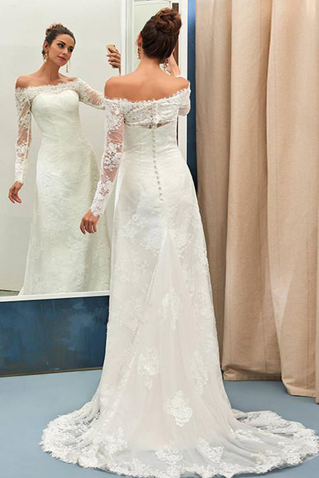 Sheath/Column Off-the-shoulder Full/Long Sleeves Lace Appliques Bridal Wedding Dresses