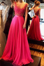 Nectarean A-line Sleeveless Beading Floor-length Chiffon Prom Dresses