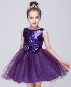 Ball Gown Sleeveless Satin & Sequined Top with Bowknot Organza Short Flower Girl Dresses
