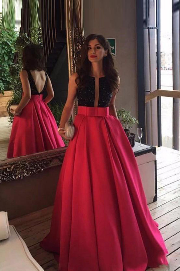 Adorable A-line/Princess Sleeveless Sequined Long Evening Dresses with Pockets