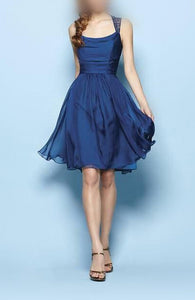 Great Chiffon A-line Sleeveless Above-knee Square Neckline Bridesmaid Dresses