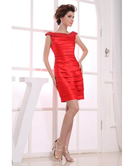 Enchanting Sheath/Column Ruched Short Satin Cocktail Dresses