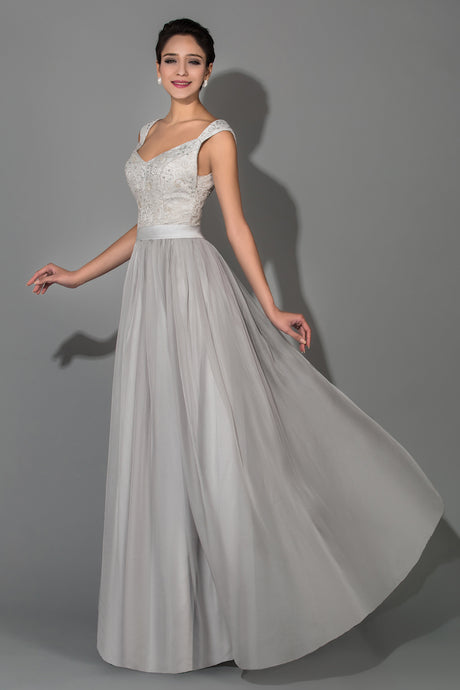A-line Lace-up V-neck Beading Chiffon Floor-length Mother of the Bride Dresses