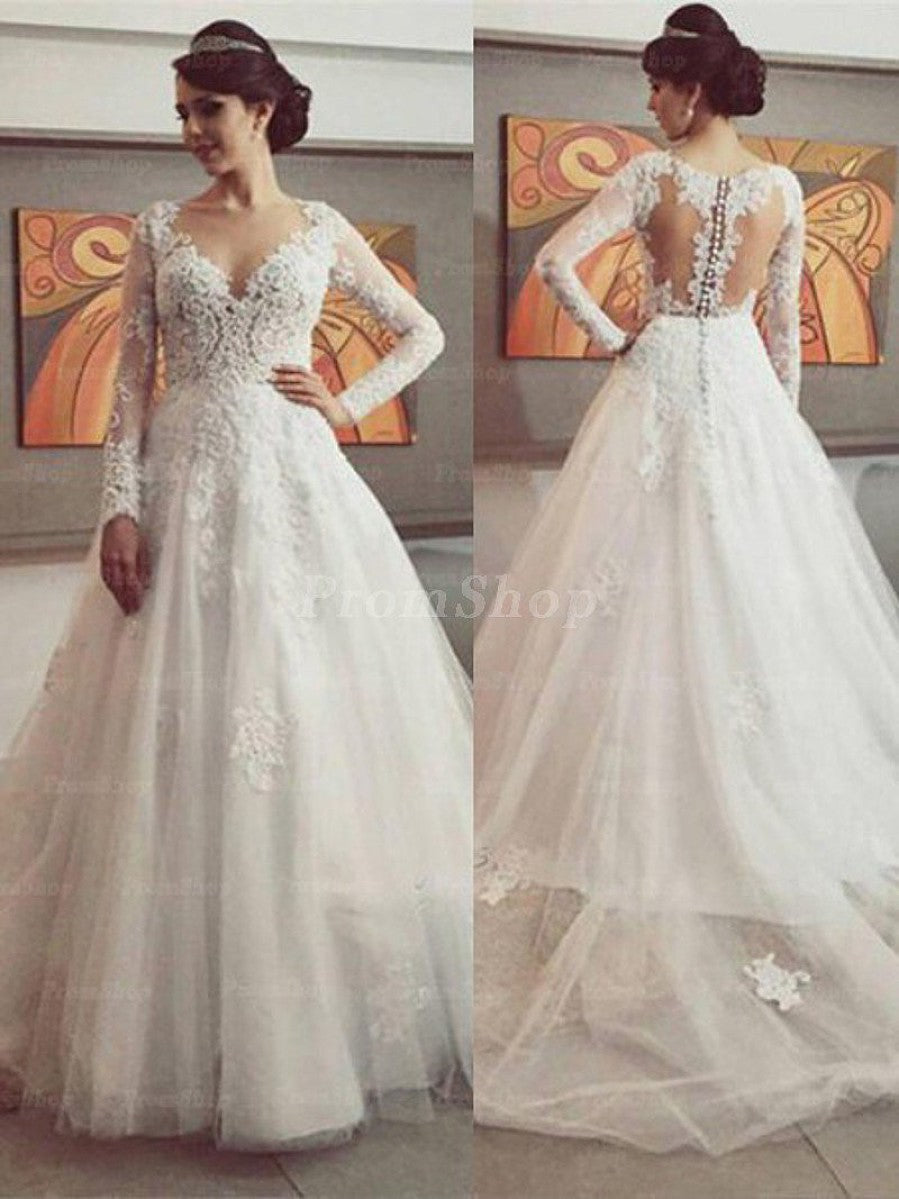 Illusion Chapel Train Chiffon Wedding Dress With Long Sleeve