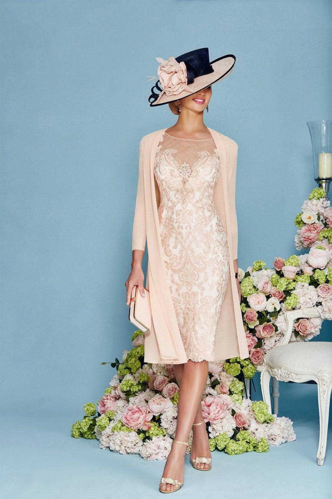3/4 Sleeves Sheath/Column Chiffon Lace Mother of the Bride Dresses ( Jacket included)