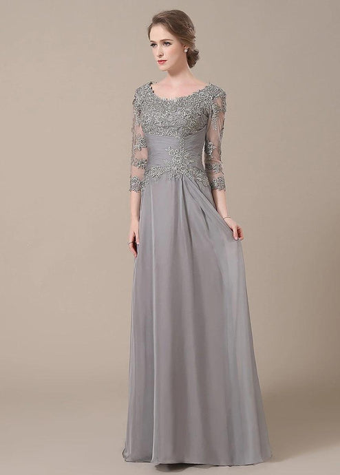 3/4 Sleeves Sheath/Column Lace Chiffon Floor Length Mother of the Bride Dresses