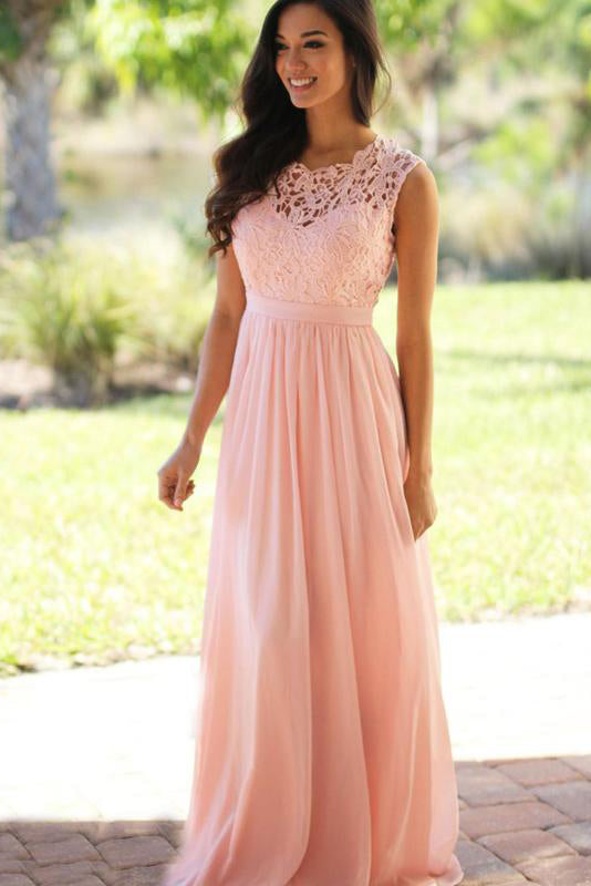 A-line/Princess sleeveless Lace Top Long Chiffon Prom/Bridesmaid Dresses