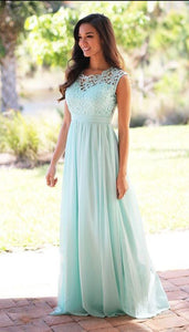 A-line/Princess sleeveless Lace Top Long Chiffon Bridesmaid Dresses