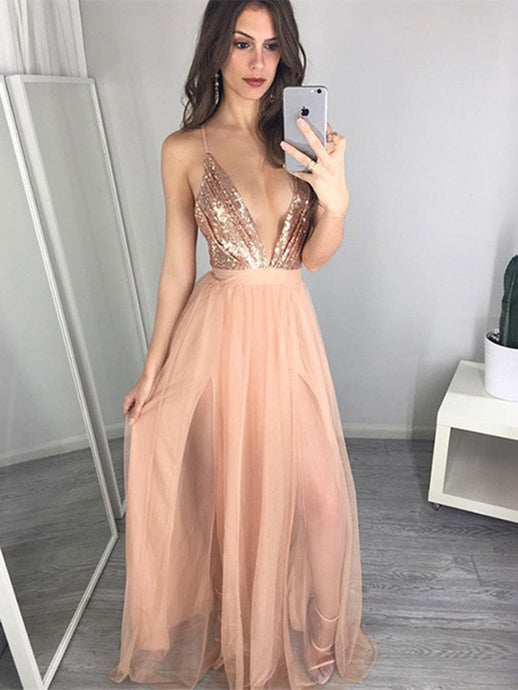 Sexy A-line Plunging V-neck Criss-Cross Straps Long Sequin and Tulle Prom Dresses