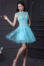 A-line Sleeveless Beading Open Back Short Organza Cocktail Dresses