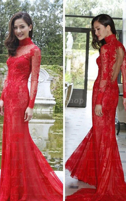 Mermaid  Scoop Neck Floor-Length Long Train Lace Prom Dresses