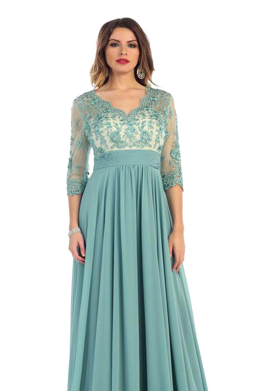 Long Mother Of The Bride Dress With Sleeves