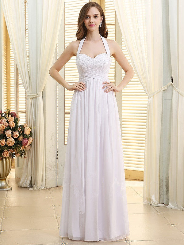 A-line Halter Sweetheart Beading Lace-up Long Chiffon Wedding Dresses