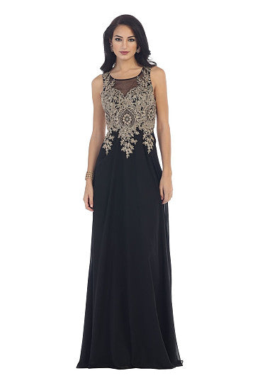 Scoop Neck Floor-Length Chiffon Prom Dresses With Beading Appliques Lace Sequins