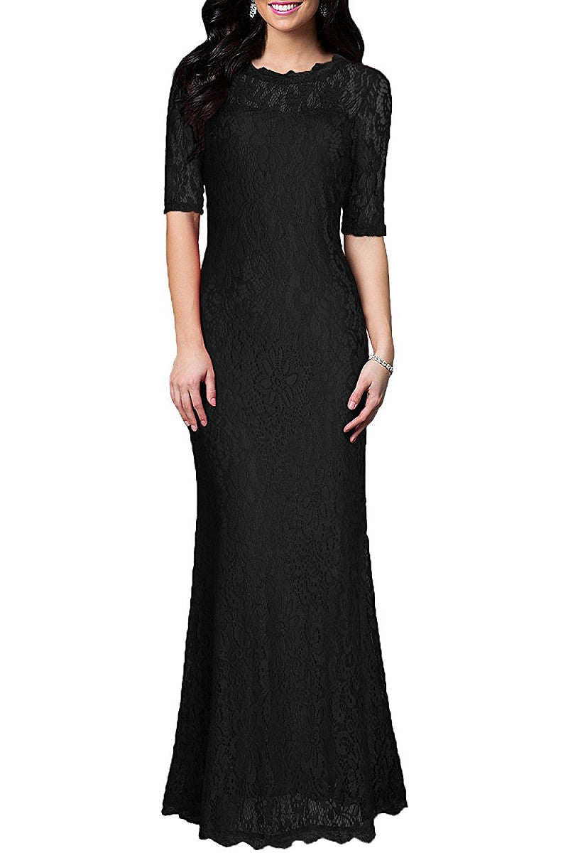 Black Sheath/Column 1/2 Sleeves Long Lace Evening Gown Dresses