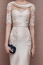 1/2 Sleeves Scoop Elastic Satin Lace Mother of The Bride Dresses with Sash