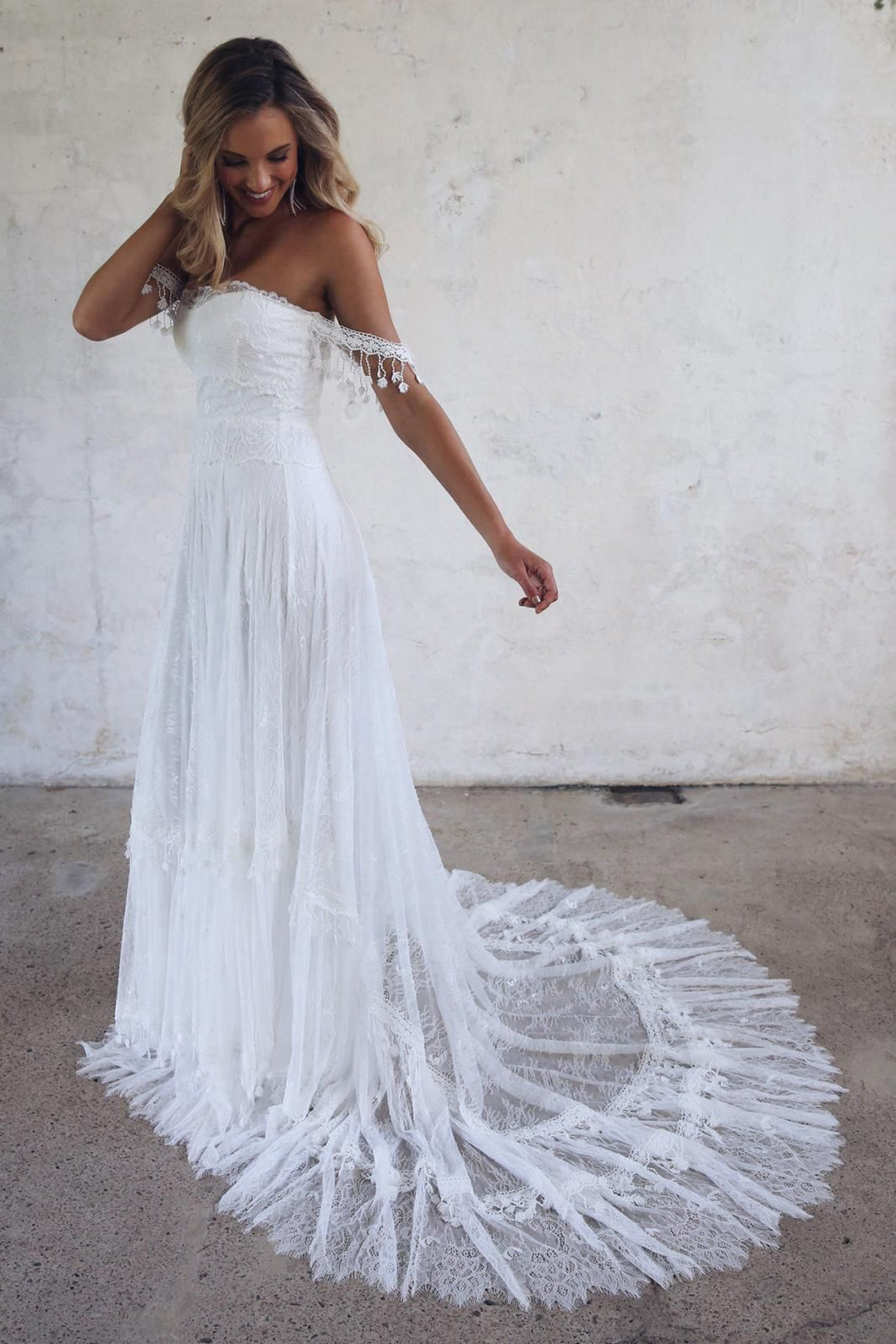 A-line Strapless Lace Long Beach Wedding Dresses