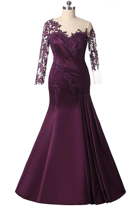 Elegant Plus Size Mermaid Long Sleeves Floor-length Prom Dress with Lace Appliques