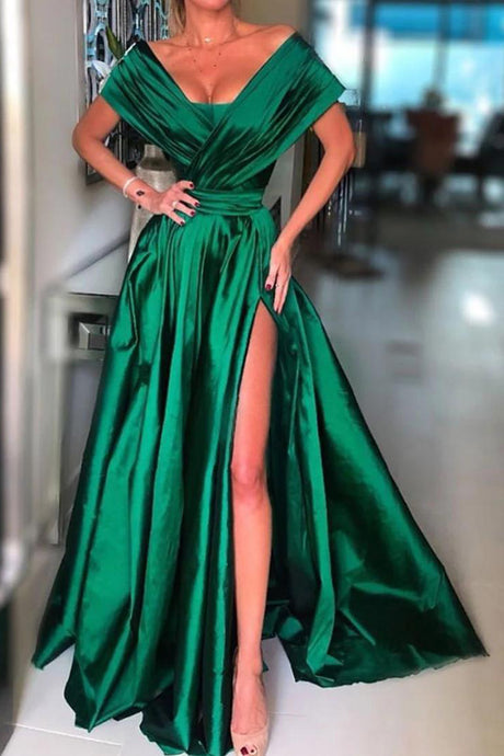 A-Line Floor length Long Evening dress Prom Dress with Split