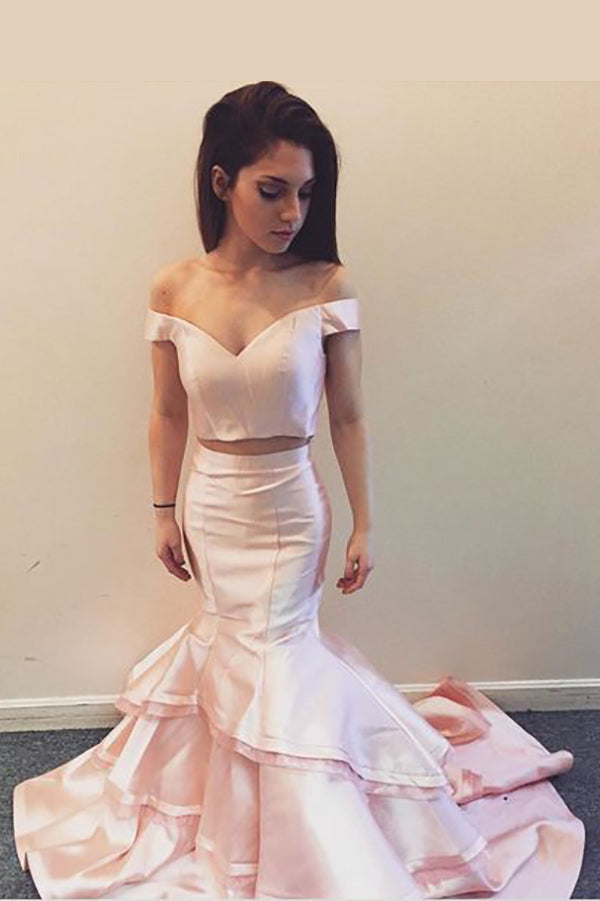 Two Piece Off-the-Shoulder V Neck Mermaid Prom Dress