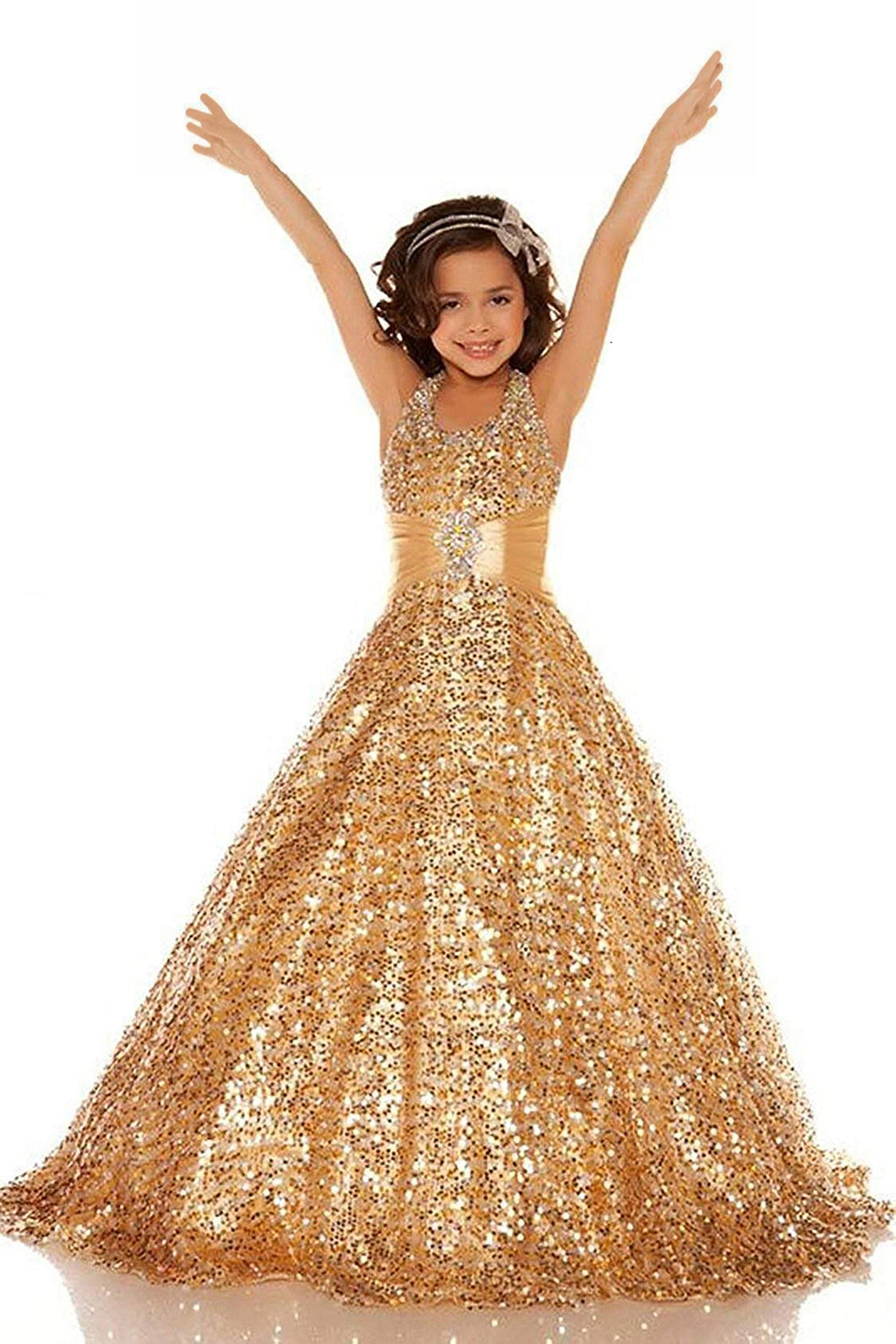 Long Shining Sequins Flower Girl Dresses Wedding Flower Gown