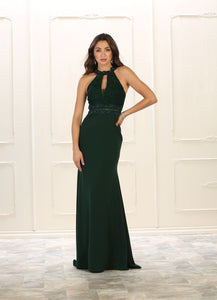 Sexy Sheath/Column Sleeveless Halter Beading Long Prom Dresses