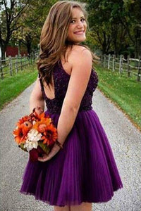 A-line Halter Sleeveless Short Tulle Homecoming Dresses with Beading