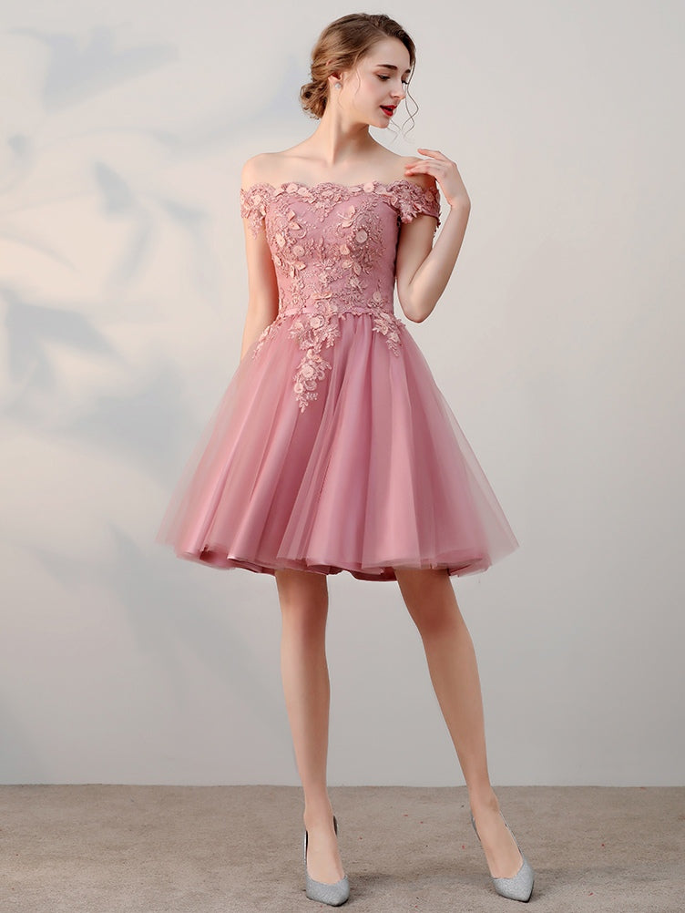 A-Line Off-the-Shoulder Short/Mini Tulle Prom Dresses With Beading