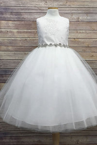 White Appliques Flower Girl Dress