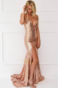 Trumpet/Mermaid Halter V-neck Front Split Long Sequined Prom Dresses