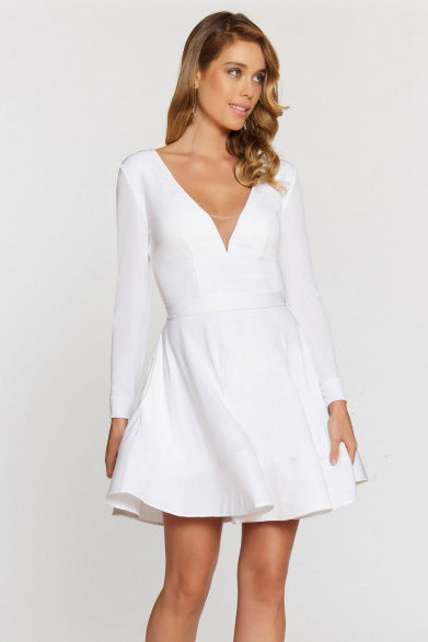 Short V-neck Wedding Guest Dress with Long Sleeves