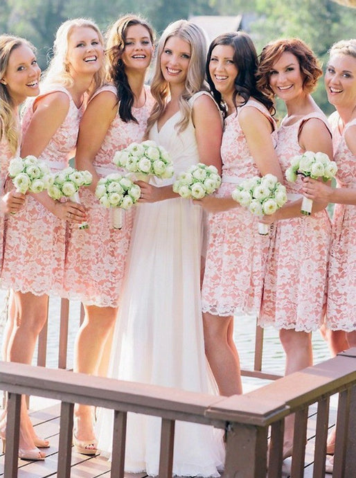 A-Line Sleeveless Pink Lace Above-Knee Bridesmaid Dress with Belt