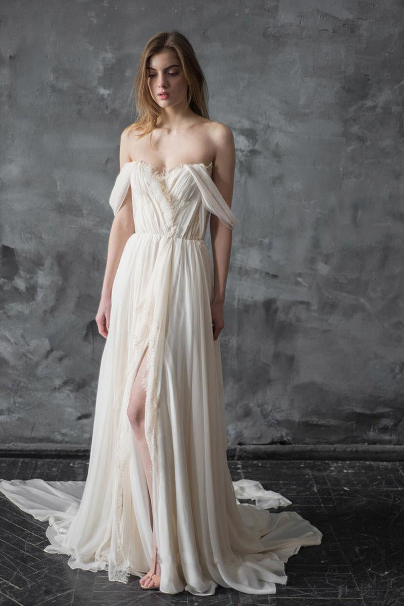 Off-the-Shoulder Floor-Length Wedding Dress with Ruffle
