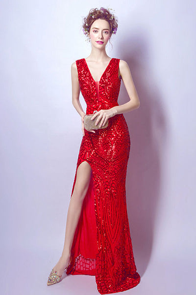 Sheath/Column Long Prom Dress With Sequins Split Front
