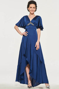 A-Line/Princess Asymmetrical V-neck Mother of the Bride Dress