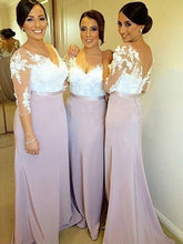 Modest Sheath/Column 3/4 Sleeves V-neck Long Bridesmaid Dresses