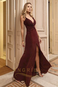 Sheath/Column V-neck Floor-Length Sexy Prom Dress