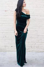 Sheath One Shoulder Floor Length Fall-Winter Velvet Prom Dresses