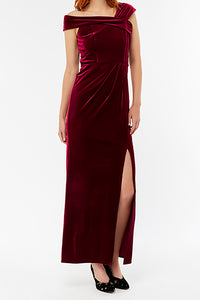 Sheath Off-the-shoulder Long Velvet Prom Dress with Split