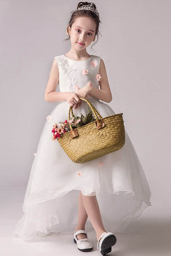 A-Line/Princess Scoop Neck White Flower Girl Dresses with Bow(s)