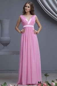 Empire V-neck Chiffon Long Bridesmaid Dress with Ruffle